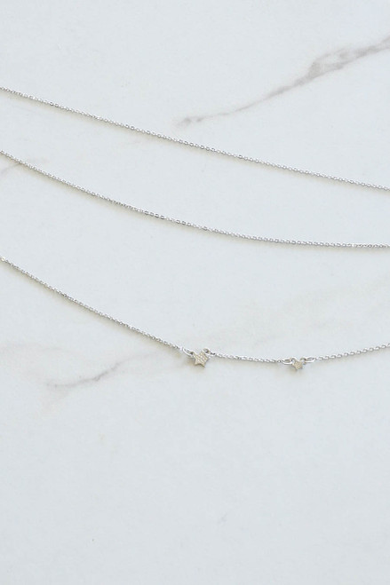 Silver - Layered Star Necklace Flat Lay