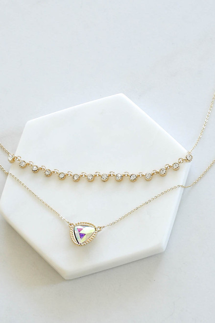 Gold - Iridescent Layered Necklace Flat Lay Close Up