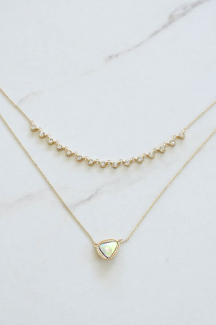 Gold - Iridescent Layered Necklace Flat Lay