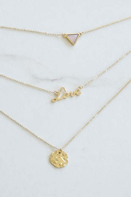 Gold - Love Charm Layered Necklace Flat Lay