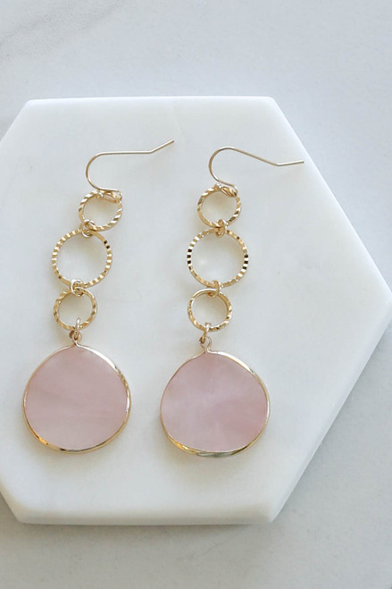 Blush - And Gold Stone Drop Earrings Flat Lay Close Up