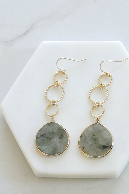 Grey - Stone Drop Earrings Flat Lay Close Up