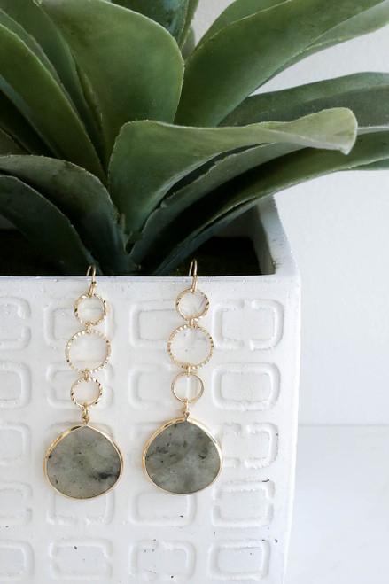 Grey - And Gold Stone Drop Earrings Hanging on Vase