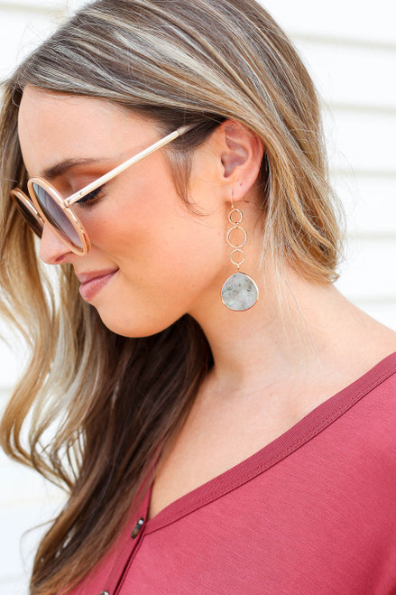 Grey - Stone Drop Earrings on Model