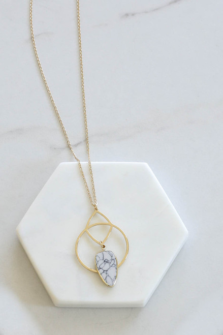 White - Marble Statement Necklace Flat Lay Close Up