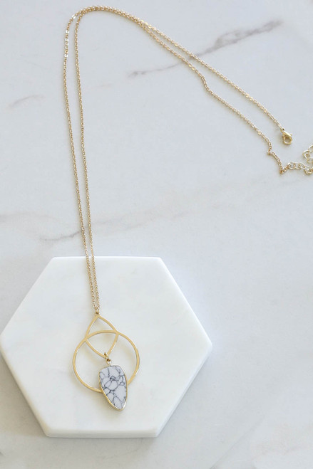White - Marble Stone Pendant Necklace Flat Lay