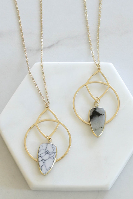White - And Grey Marble Stone Pendant Necklace Flat Lay