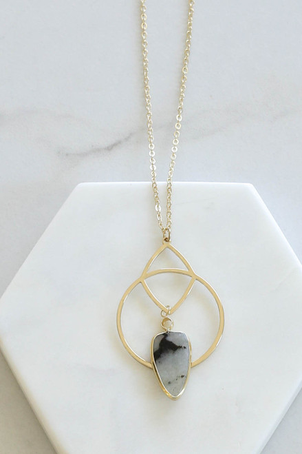 Grey - Marble Stone Pendant Necklace Flat Lay Close Up