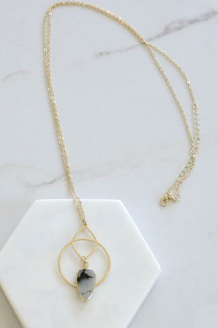 Grey - Marble Pendant Necklace Flat Lay