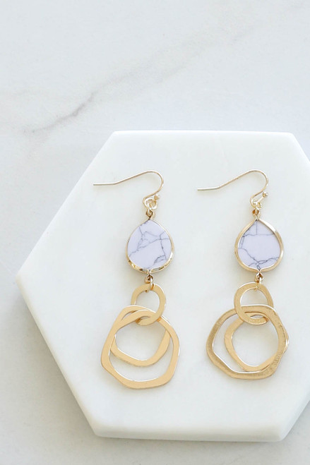 White - Marble Drop Earrings Flat Lay