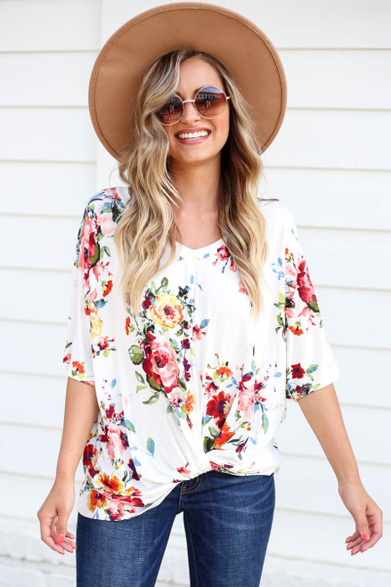 Ivory - Floral Twist Front Top