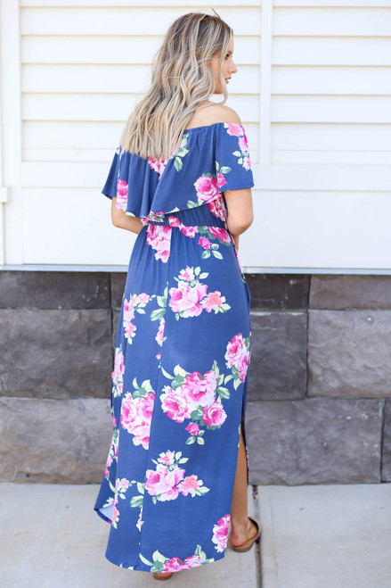 Navy - Floral Off the Shoulder Maxi Dress Back View