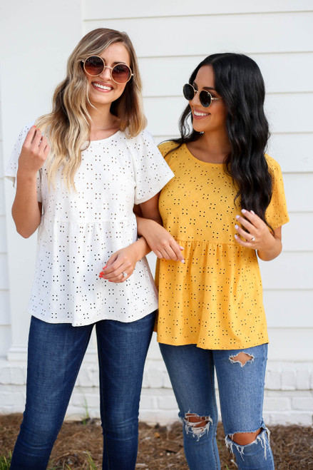 Mustard - and White Eyelet Babydoll Top