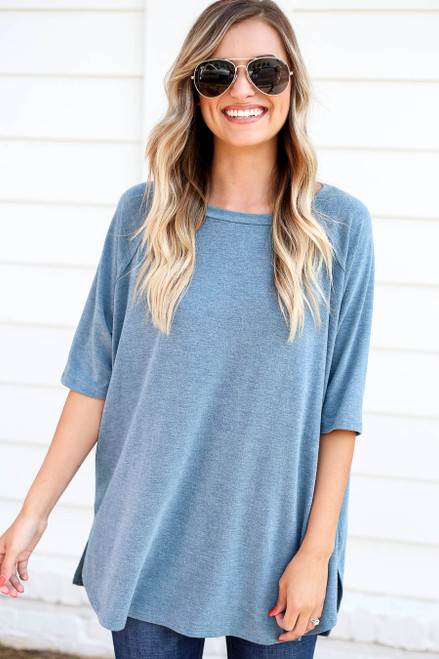 Blue - Oversized Crew Neck Tee