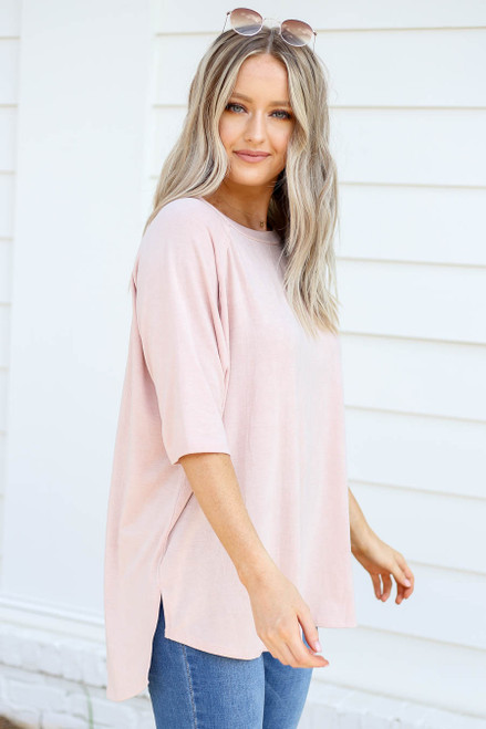 Blush - Oversized Crew Neck Tee Side View