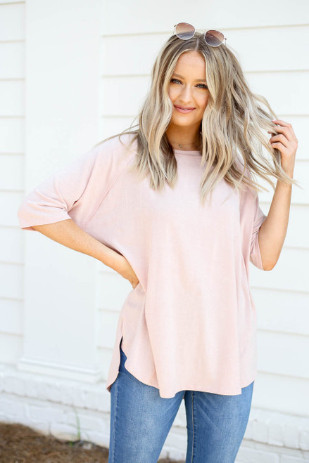 Blush - Oversized Crew Neck Tee