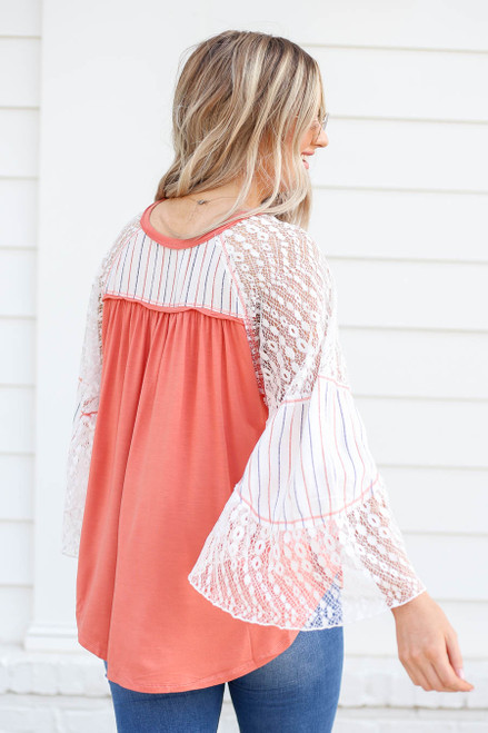 Coral - Lace Flutter Sleeve Top Back View