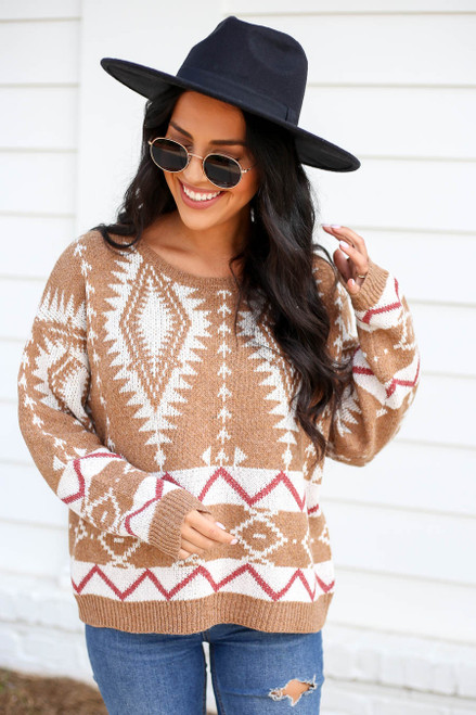 Taupe - Printed Sweater