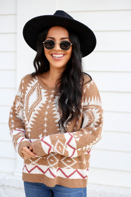 Model wearing Taupe Aztec Print Sweater