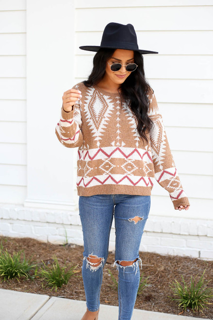 Taupe - Printed Sweater Front View