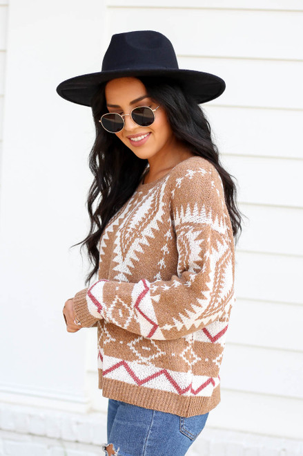 Model wearing Taupe Aztec Print Sweater Side View