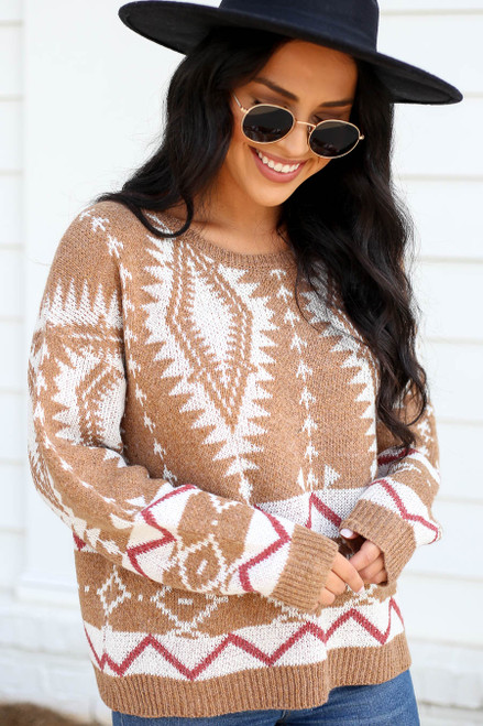 Model wearing Taupe Aztec Print Sweater Close Up