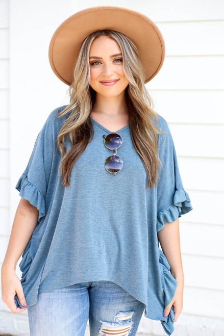 Blue - Ruffled Short Sleeve Tee