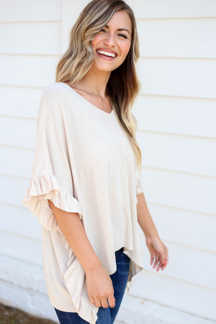 Ivory - Ruffled Short Sleeve Tee Side View