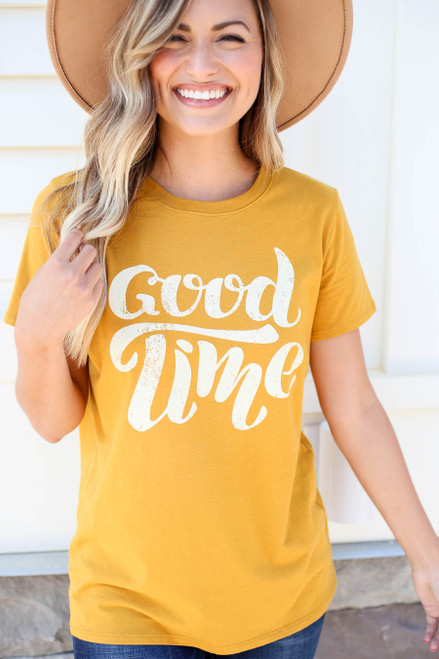 Mustard - Good Time Graphic Tee Front View