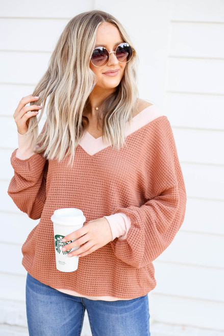 Rust - Waffle Knit Contrast Trim Sweater