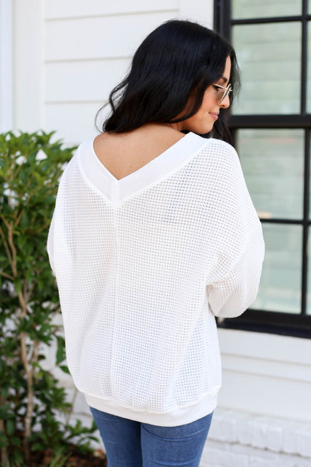 Model wearing White Waffle Knit Contrast Trim Sweater Back View