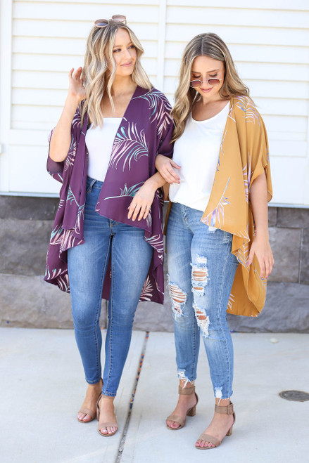 Purple - and Mustard Palm Print Kimono