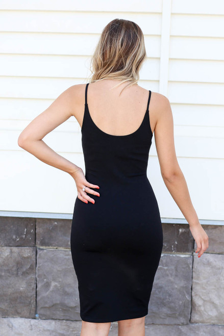 Model wearing Black Basic Bodycon Layering Dress Back View