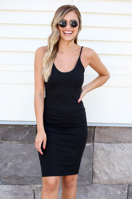 Model wearing Black Basic Bodycon Layering Dress Front View