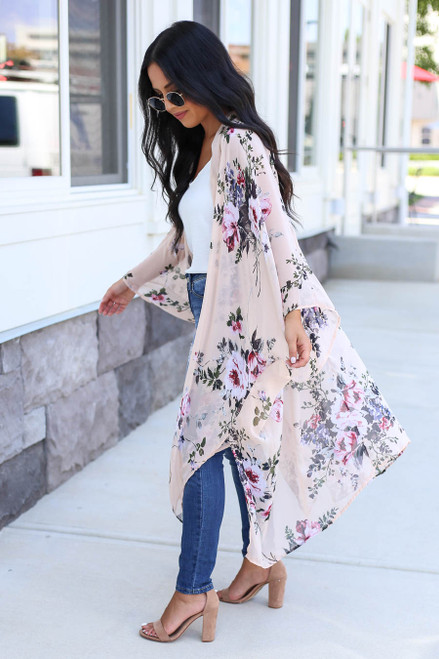 Blush - Floral Sheer Kimono Side View
