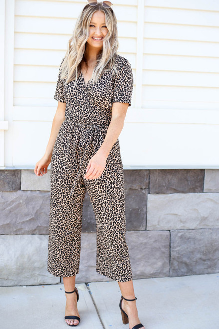 Model wearing Cropped Leopard Print Jumpsuit Front View