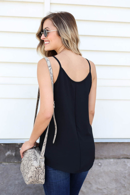 Model wearing Black Chiffon Basic Cami Back View