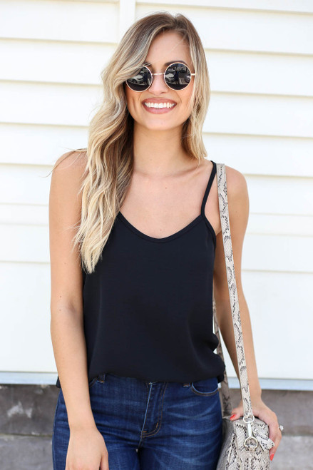 Model wearing Black Chiffon Basic Cami