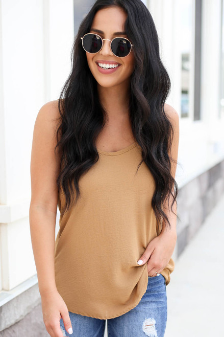 Model wearing Khaki Chiffon Basic Cami