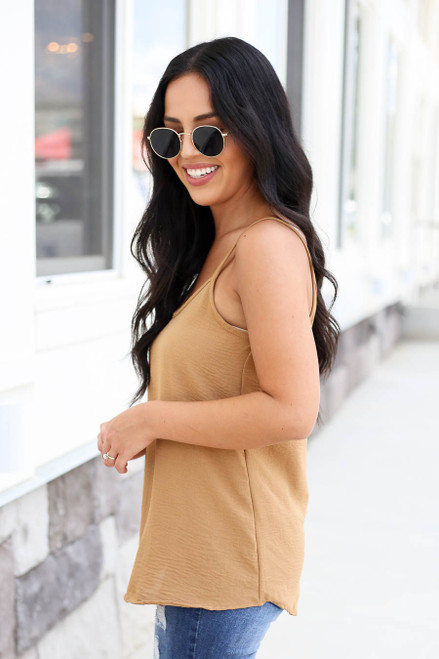 Model wearing Khaki Chiffon Basic Cami Side View