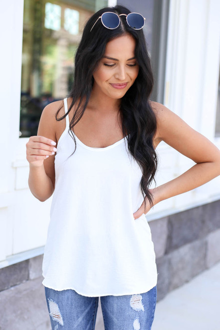 Model wearing White Chiffon Basic Cami