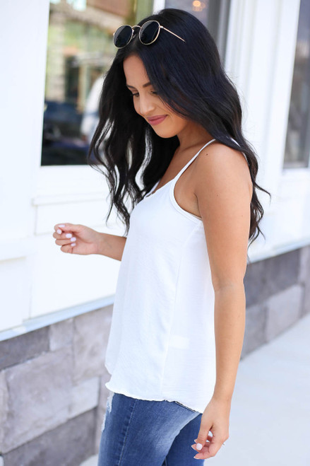 Ivory - Chiffon Basic Cami Side View