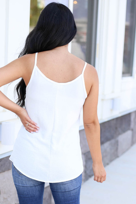 Model wearing White Chiffon Basic Cami Back View