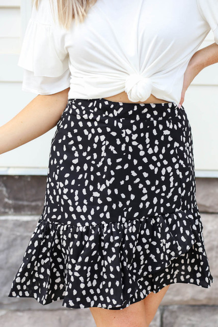 Black - Spotted Ruffle Skirt Detail View