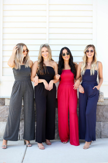 Navy - Red, Navy, and Charcoal Strapless Jumpsuits