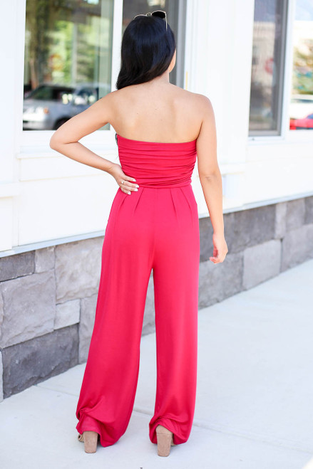 Model wearing Red Basic Strapless Jumpsuit Back View