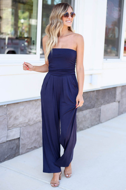 Navy - Basic Strapless Jumpsuit