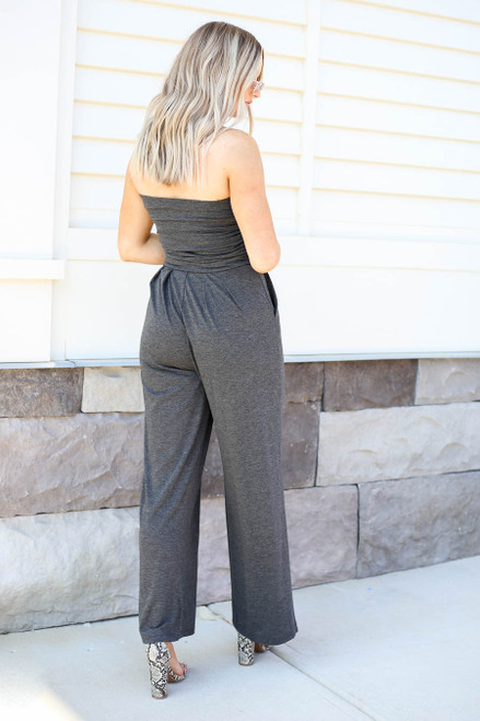 Model wearing Charcoal Basic Strapless Jumpsuit Back View