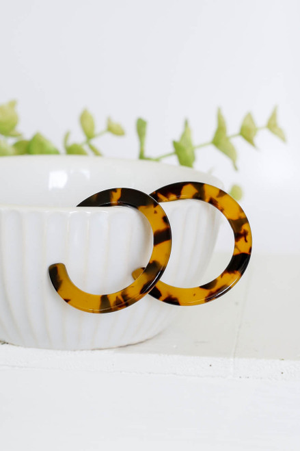 Tortoise - Flat Hoop Earrings on Bowl