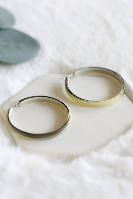 Olive - Tortoise Open Back Hoop Earrings